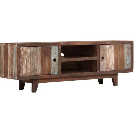 Meuble télé buffet tv télévision design pratique bois d'acacia massif vintage 118 cm