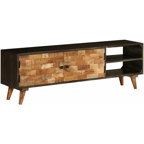 Meuble télé buffet tv télévision design pratique bois de manguier massif 140 cm