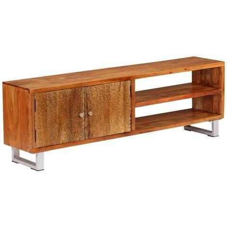 Meuble télé buffet tv télévision design pratique bois massif avec portes sculptées 140 cm