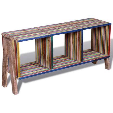 Meuble télé buffet tv télévision design pratique empilable coloré en teck recyclé avec 3 étagères