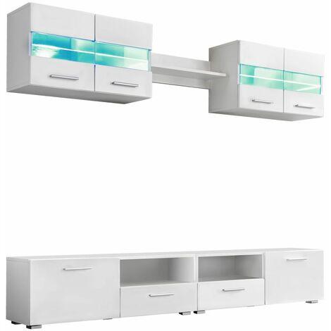 Meuble télé buffet tv télévision design pratique ensemble meuble mural tv 5 pcs lumières led haute brillance blanc - Blanc