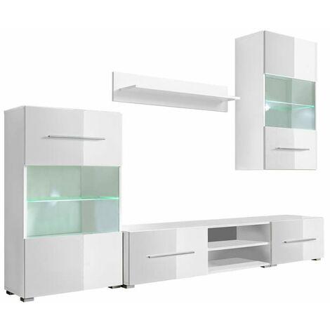 Meuble télé buffet tv télévision design pratique mural avec éclairage led 5 pièces blanc - Blanc