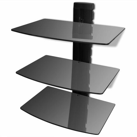 Meuble télé tv télévision design pratique étagère murale noire à 3 tablettes en verre pour dvd - Noir
