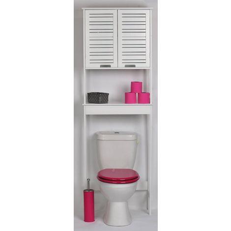 Meuble toilettes WC en Bois MDF Blanc finition laquée comprenant 2 portes avec 1 étagère intérieure et 1 tablette