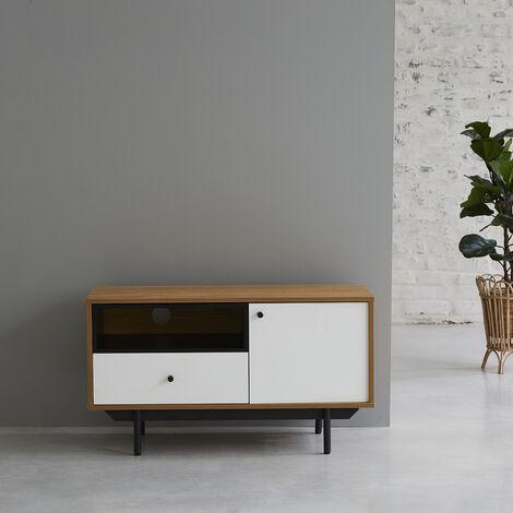 Meuble TV 1 placard 1 tiroir blanc et naturel BERLIN