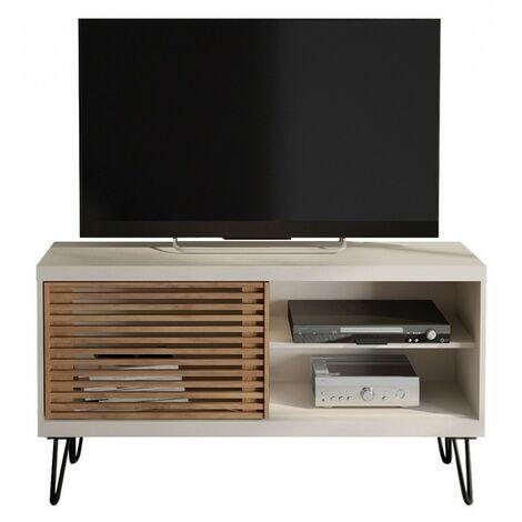 Meuble TV 120 cm Blanc Porte Persiennes