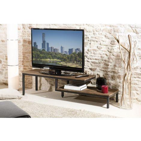 Meuble tv 2 tablettes bois et métal - Brun