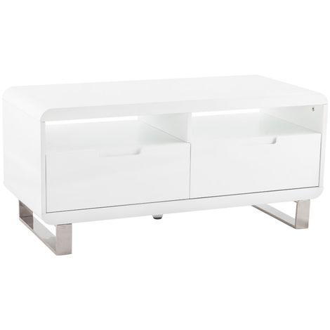 Meuble TV 2 tiroirs coloris blanc - 45 x 100 x 47 cm -PEGANE-