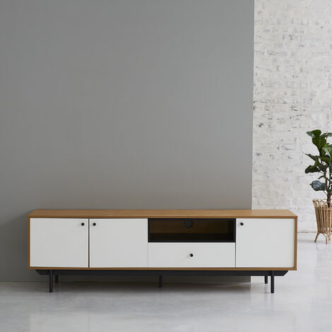 Meuble TV 3 placards 1 tiroir blanc et naturel BERLIN