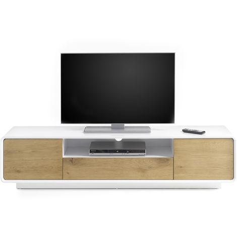 Meuble Tv Avec 2 Portes Coloris Laque Blanc Mat L170 X H40 X P40 Cm Pegane