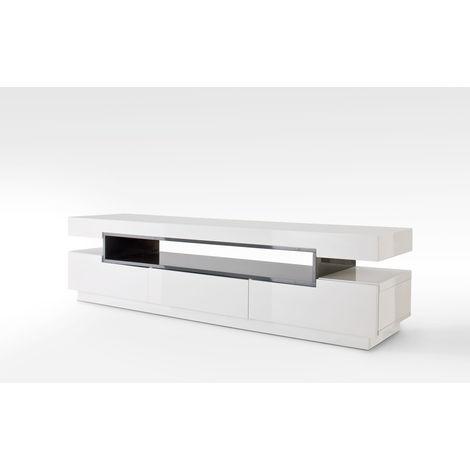 Meuble Tv Avec 3 Tiroirs Coloris Laque Blanc Brillant Et Gris L200 X H52 X P50 Cm Pegane 53mc 59018wg3