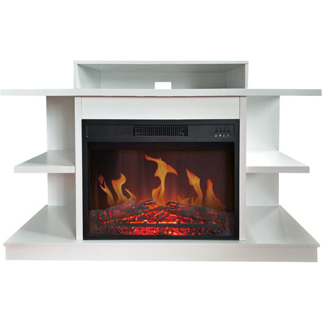 """Meuble TV avec cheminée électrique """"Fuji blanc"""""""