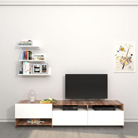 Meuble tv avec tag re design campbell l 180 x h 40 cm marron noix 180223 - Meuble tv avec etagere ...