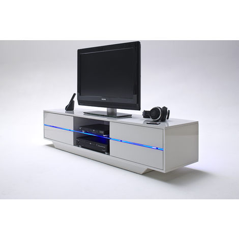 Meuble Tv Avec Led Bleu Coloris Laque Blanc Brillant L160 X H36 X P40 Cm Pegane 53mc 59075w14