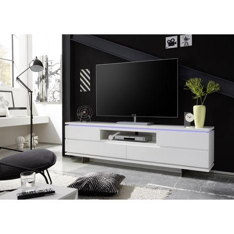 Meuble Tv Avec Led En Laque Blanc Mat L200 X H57 X P40 Cm Pegane 53mc 59074mw4