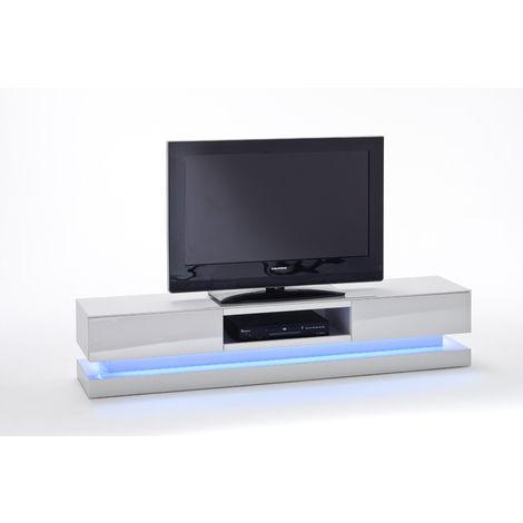Meuble Tv Avec Led Multicouleur Coloris Laque Blanc Brillant L180 X H36 X P39 Cm Pegane 53mc 59071w4