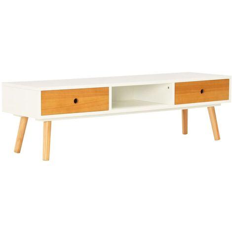 Meuble TV Blanc 120 x 35 x 35 cm Pin massif