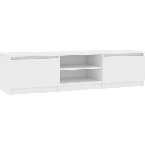 Meuble TV Blanc 140x40x35,5 cm Aggloméré