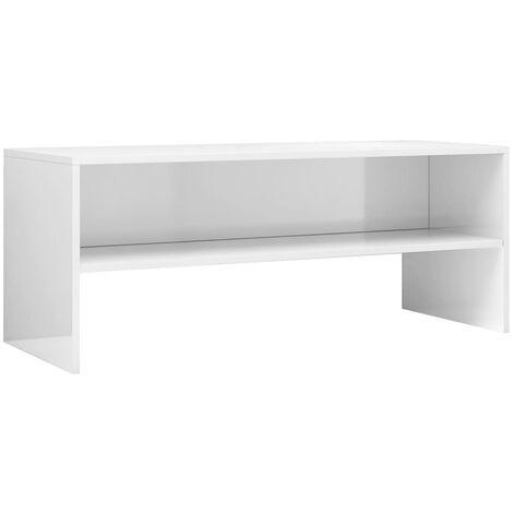 Meuble TV Blanc brillant 100 x 40 x 40 cm Aggloméré