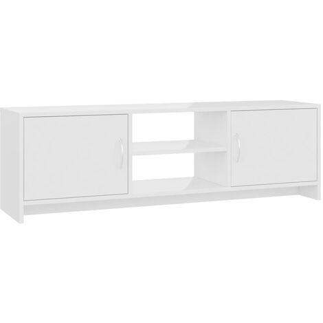 Meuble TV Blanc brillant 120 x 30 x 37,5 cm Aggloméré