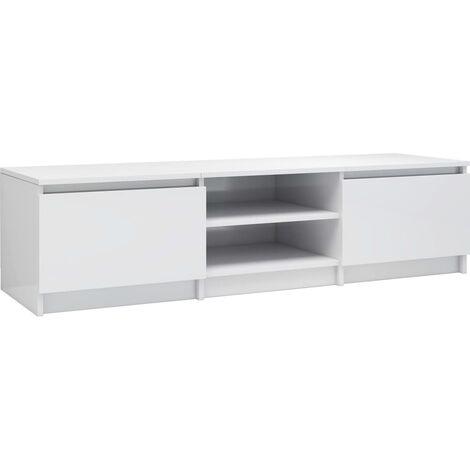 Meuble TV Blanc brillant 140x40x35,5 cm Aggloméré