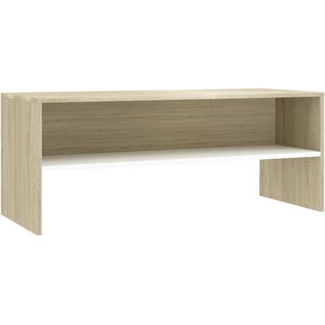 Meuble TV Blanc et chêne sonoma 100 x 40 x 40 cm Aggloméré