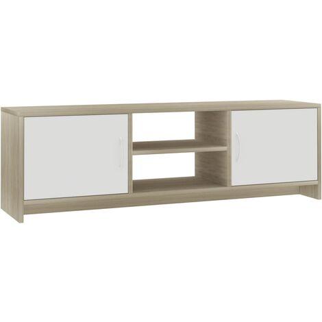 Meuble TV Blanc et chêne sonoma 120 x 30 x 37,5 cm Aggloméré