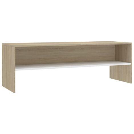 Meuble TV Blanc et chêne sonoma 120 x 40 x 40 cm Aggloméré