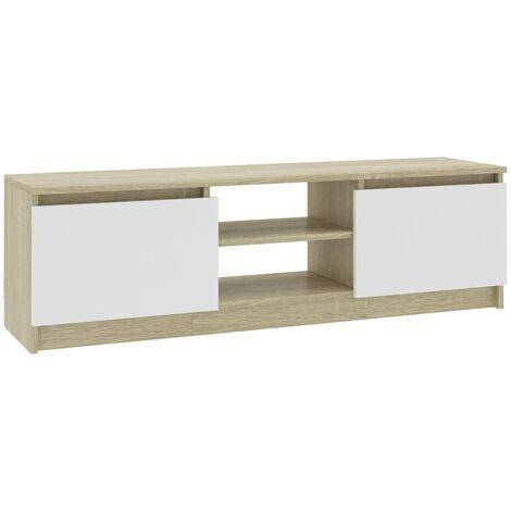 Meuble TV Blanc et chêne sonoma 120x30x35,5 cm Aggloméré