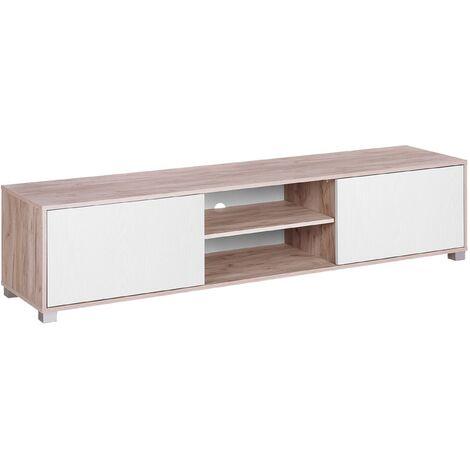 Meuble TV blanc et en bois clair LINCOLN