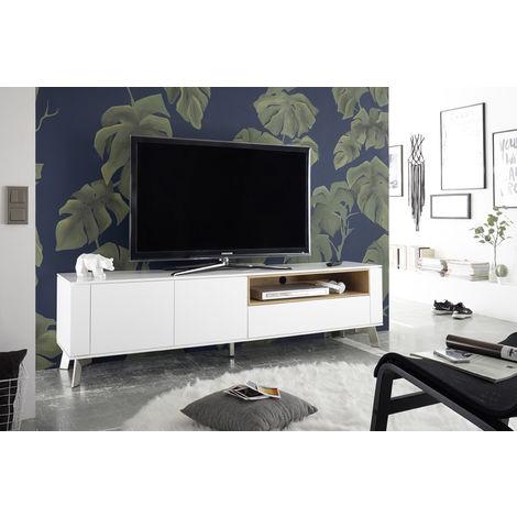 Meuble TV blanc mat avec niche en chêne - L180 x H51 x P40 cm -PEGANE-