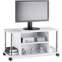 Meuble TV blanc meuble Hifi à roulettes étagère roues MDF console table basse HxlxP: 41,5 x 80 x 40 cm, blanc