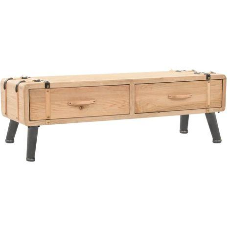 Meuble tv bois de sapin massif 120 x 33 x 35 cm brun meubles meubles audio vid o et pour - Meuble tv sapin massif ...