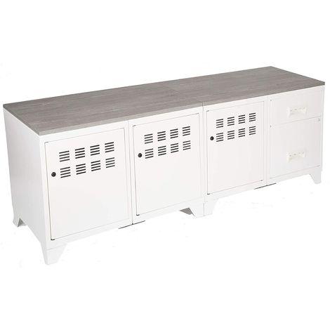 Meuble TV bois métal industriel Alu
