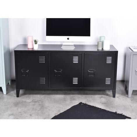 Meuble tv caisson métal casier noir 3 portes