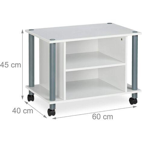 Meuble TV compartiments étagère buffet à roues pour téléviseur 60 blanc - Blanc