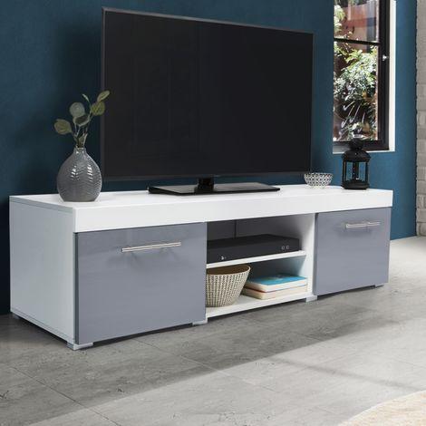 Meuble TV contemporain PORTLAND bois blanc gris laqué