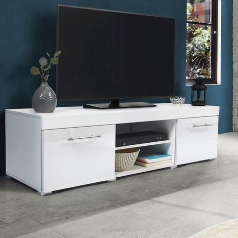 Meuble TV contemporain PORTLAND bois blanc laqué