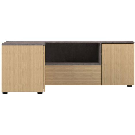 Meuble Tv D Angle Design Bois Et Gris Beton Quadra 46096