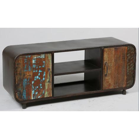 Meuble TV de 2 portes en acier finition vieillie - Dim : L.130 x l.40 x Ht.53 cm -PEGANE-