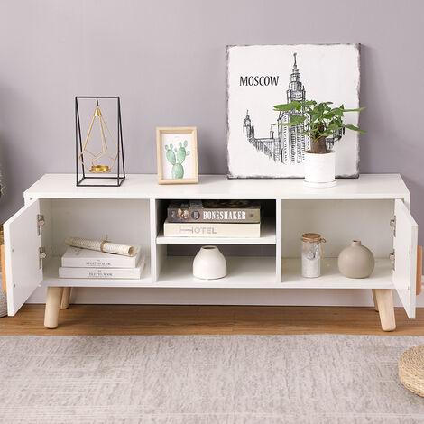 Meuble TV de jambe en bois à double porte coulissante tout blanc 110 * 30 * 42cm