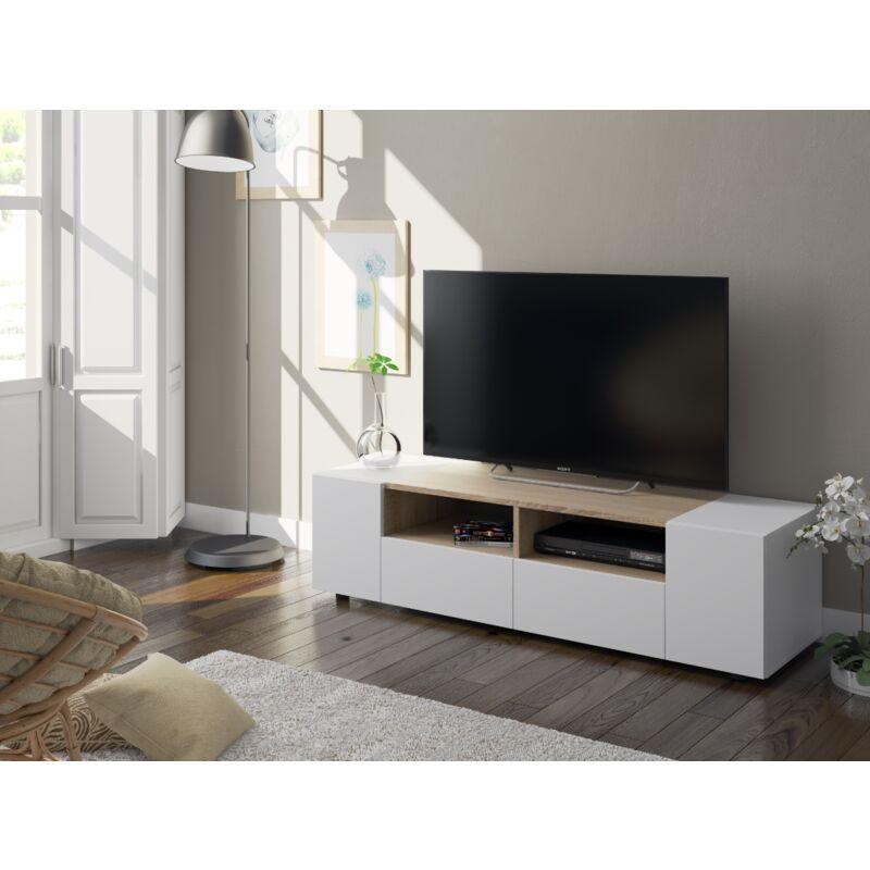 Meuble TV de salon 138 cm Blanc mat et chêne canadien avec quatre portes | Couleur