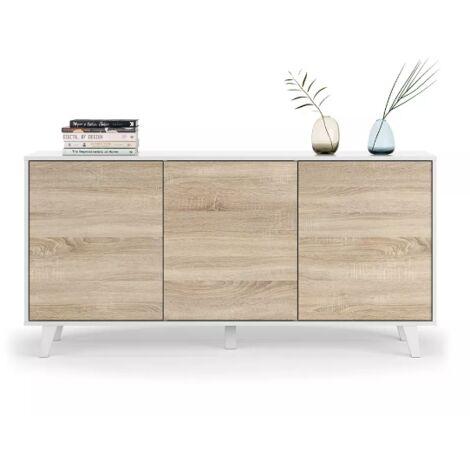 Meuble TV de salon 154 cm blanc brillant et chêne canadien avec trois portes | Couleur
