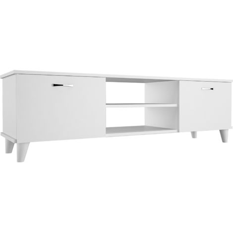 Meuble TV design Ardin - L. 140 x H. 43 cm - Blanc