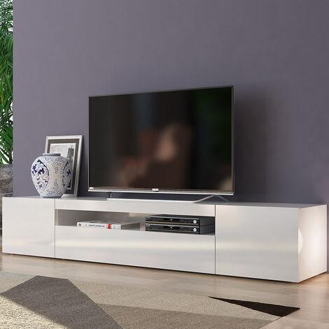 "main image of ""Meuble TV design avec portes tiroirs à rabat 200cm Daiquiri White L"""