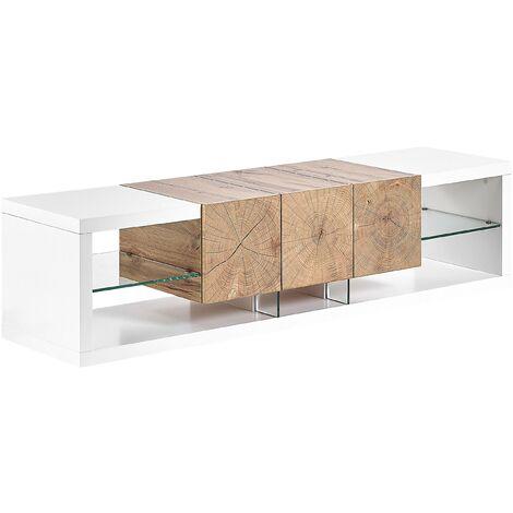 Meuble TV design blanc / effet bois clair 3 tiroirs FULERTON