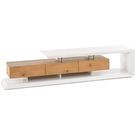 Meuble TV design EMERAINVILLE finition laquée blanc mat 3 tiroirs façade chêne noueux - blanc