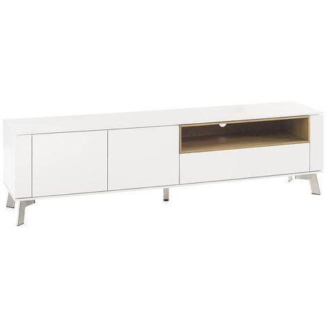 Meuble TV design laqué blanc BELLINZONA pieds acier brossé - blanc