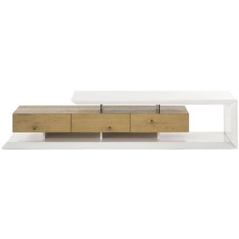 Meuble TV design laqué blanc et bois RITUEL - 46112