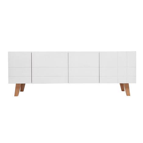 Meuble Tv Design Laque Blanc Mat Et Bois Adorna 32088